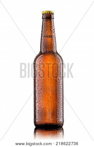 Cold bottle of beer with drops isolated on white background.