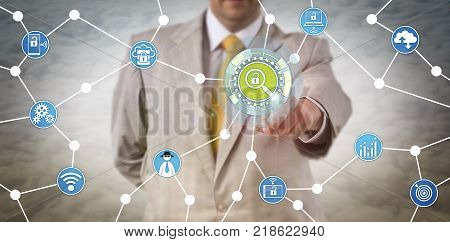 Unrecognizable security manager is touching a virtual investigative tool. Cybersecurity concept for penetration test proactive cyber defense fraud prevention incident response and investigation.