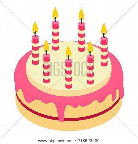 Birthday cake candle icon. Isometric illustration of birthday cake candle vector icon for web