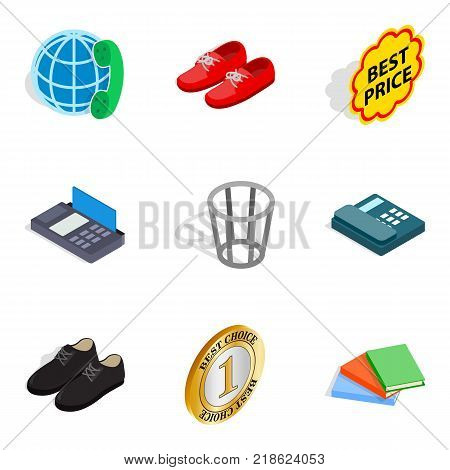 Advertisement icons set. Isometric set of 9 advertisement vector icons for web isolated on white background