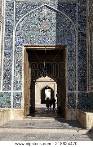 Yazd Iran - April 21 2017: The gateway leading into the courtyard Friday Mosque or Jame Mosque.