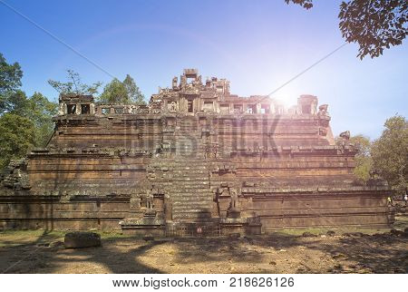 Angkor Thom terrace of the leprous king Siem Reap Cambodia