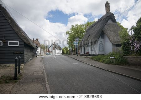 View of Long Lane in the village of Fowlmere Cambridgeshire England UK