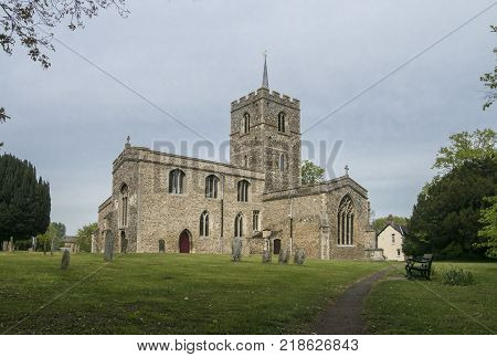 St Mary's Church in the village of Fowlmere Cambridgeshire England UK