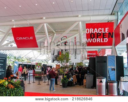 SAN FRANCISCO CA USA - SEPT 18 2005: Registration desk in Moscone South convention center on the eve of opening of Oracle OpenWorld conference on Sept 18 2005 in San Francisco CA.