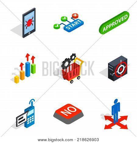 Analytics icons set. Isometric set of 9 analytics vector icons for web isolated on white background