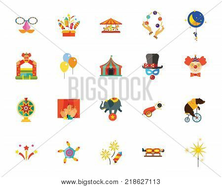 Circus icon set. Can be used for topics like recreation, performance, entertainment, hocus-pocus