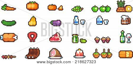 Set of food icons in perfect pixel art. Vegetables, fruits, delicacies, meat, sweets and other food icons on plates and kitchen. Retro 8-bit. For your games, retro, business pixel design. Isolated
