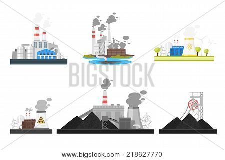 Vector cartoon set of industrial plants dangerous for the environment. Environmental pollution concept.
