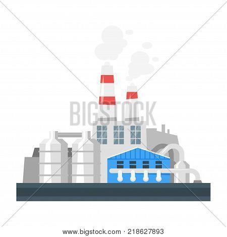 Vector cartoon illustration of industrial plant. Environmental pollution concept.