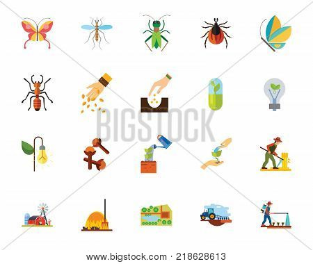 Insects and agriculture icon set. Can be used for topics like cultivation, bug, planting, invertebrate, saving energy, environment