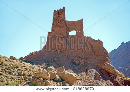 Natural rock formations in the Atlas mountains in Morocco
