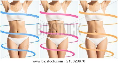 Collage of a female body with arrows. Fat lose, health, sport, fitness, nutrition, liposuction, healthy life-style concept with spirals.