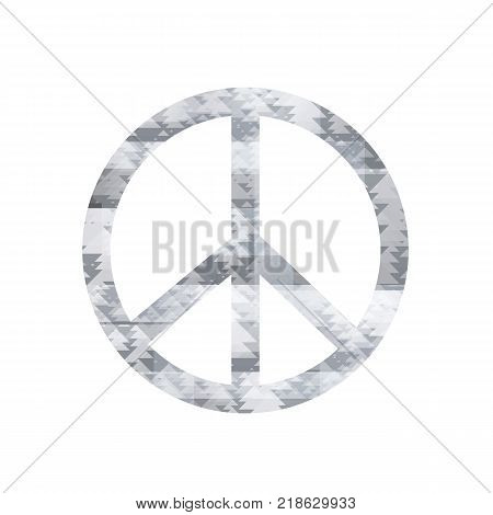 Grey Pacifist Sign Isolated on White Background
