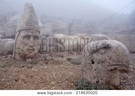Ancient stone statues on the top of Nemrut mount, Anatolia, Turkey.