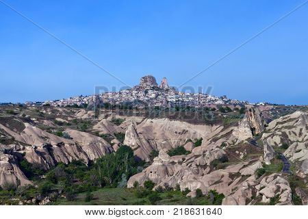 Panorama of Uchisar castle and unique geological formations in Cappadocia, Central Anatolia, Turkey