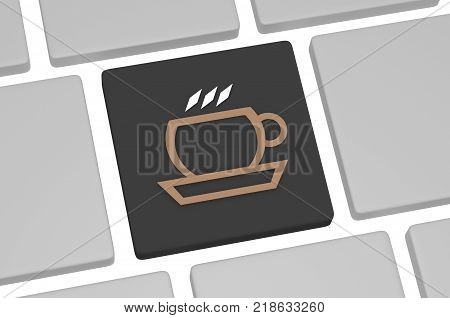 The icon of coffee on the keyboard on white background. Concept of coffee break or businees lunch 3D illustration