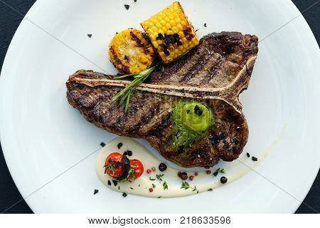 american rib steak. Barbecued and seasoned delicious quality meat dish.