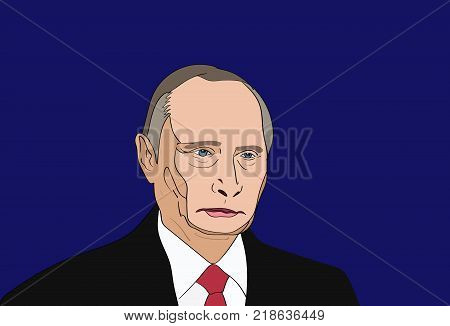 Dec, 2017: The President of Russia Vladimir Putin vector portrait on a blue background