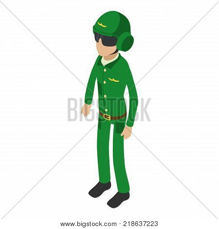 Soldier pilot icon. Isometric illustration of soldier pilot vector icon for web