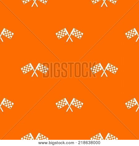 Crossed chequered flags pattern repeat seamless in orange color for any design. Vector geometric illustration