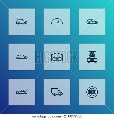 Auto icons line style set with hatchback, lorry, crossover and other shed elements. Isolated vector illustration auto icons.