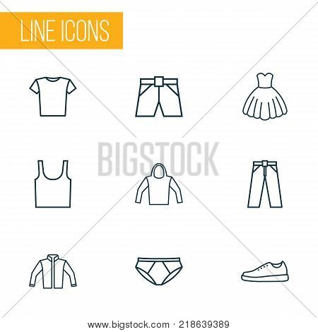Dress icons line style set with pants, underpants, briefs and other dress elements. Isolated vector illustration dress icons.