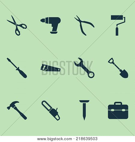 Tools icons set with digging, spanner, turn-screw and other tool elements. Isolated vector illustration tools icons. poster