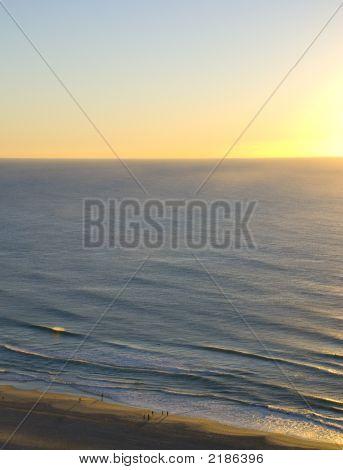 Aerial View Of Sunrise Over Ocean
