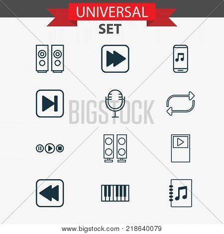 Multimedia icons set with sound box, refresh, rewind back and other tune list elements. Isolated vector illustration multimedia icons.