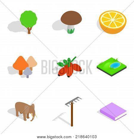 Biology icons set. Isometric set of 9 biology vector icons for web isolated on white background