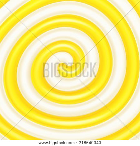 Lemon jam or syrup in the milk swirl. Sweet spiral background. Dairy and fruit mix. Cream, jam, yogurt, milkshake, lollipop, candy. Vector illustration for advertising or packaging of dairy products.