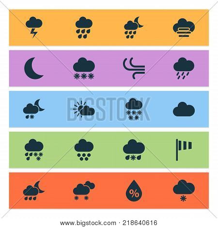 Air icons set with synoptic, deluge, snowflake and other snowflake elements. Isolated vector illustration air icons.