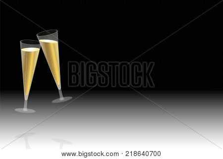Toast with two floating champagne glasses at new years eve, company celebration, birthday party, wedding or any other merry feast - vector illustration on black to white gradient background. poster