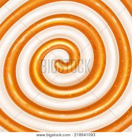 Caramel and yogurt swirls. Sweet spiral background. Dairy and caramel mix. Cream, jam, yogurt, milkshake, chocolate, lollipop, candy. Vector illustration.