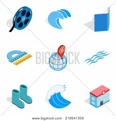 Water bewitched icons set. Isometric set of 9 water bewitched vector icons for web isolated on white background