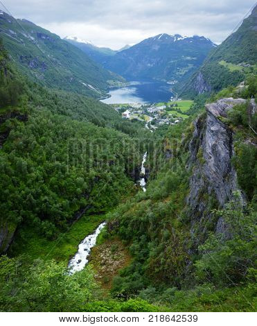 Breathtaking view of Sunnylvsfjorden fjord from high viewpoint on Geiranger village in western Norway