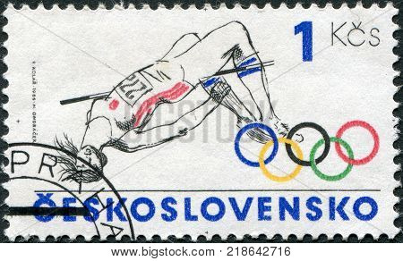 CZECHOSLOVAKIA - CIRCA 1984: A stamp printed in the Czechoslovakia is dedicated to the Summer Olympics in Los Angeles shows a Pole vault circa 1984