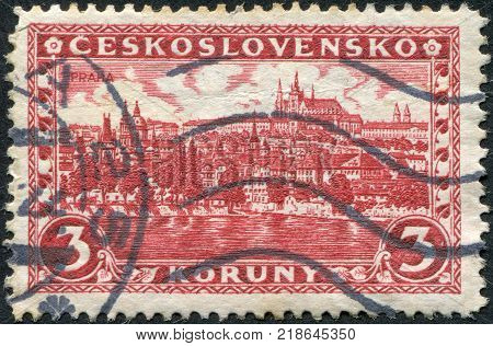 CZECHOSLOVAKIA - CIRCA 1926: A stamp printed in the Czechoslovakia, represented Hradcany at Prague, circa 1926