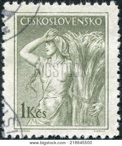 CZECHOSLOVAKIA - CIRCA 1954: A stamp printed in the Czechoslovakia shows a peasant woman circa 1954