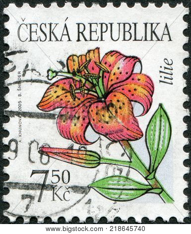 CZECH-CIRCA 2005: A stamp printed in the Czech Republic shows a flower Lilies circa 2005