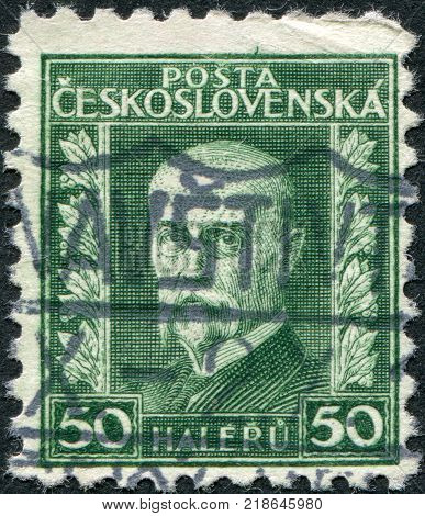 CZECHOSLOVAKIA - CIRCA 1927: A stamp printed in the Czechoslovakia, shows the first president of Czechoslovakia, Thomas Masaryk, circa 1927