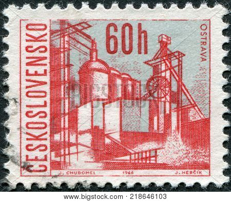 CZECHOSLOVAKIA - CIRCA 1966: A stamp printed in the Czechoslovakia shows the city of Ostrava circa 1966