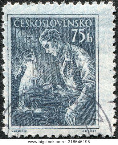 CZECHOSLOVAKIA - CIRCA 1954: A stamp printed in the Czechoslovakia shows Turner circa 1954