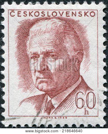 CZECHOSLOVAKIA - CIRCA 1968: A stamp printed in the Czechoslovakia shows President Ludvik Svoboda circa 1968