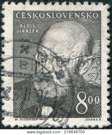 CZECHOSLOVAKIA - CIRCA 1949: A stamp printed in the Czechoslovakia shown Alois Jirasek circa 1949