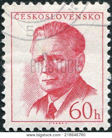 CZECHOSLOVAKIA - CIRCA 1958: A stamp printed in the Czechoslovakia shows President Antonin Novotny circa 1958