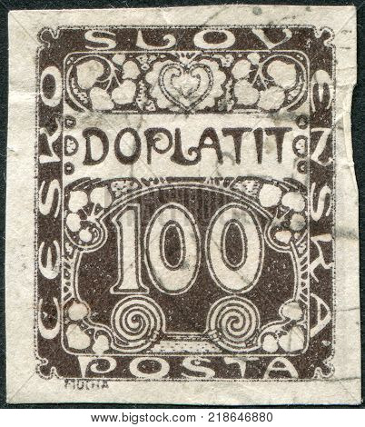 CZECHOSLOVAKIA - CIRCA 1918: A stamp printed in the Czechoslovakia shows a porto-mark circa 1918