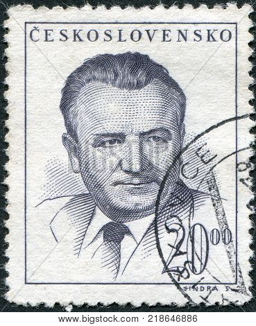 CZECHOSLOVAKIA - CIRCA 1948: A stamp printed in the Czechoslovakia shows the president of Czechoslovakia Klement Gottwald circa 1948