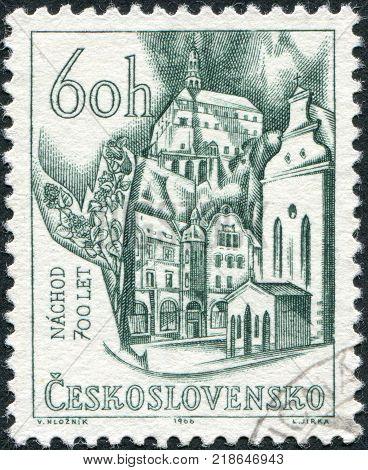 CZECHOSLOVAKIA - CIRCA 1966: A stamp printed in the Czechoslovakia shows a view of Nachod circa 1966